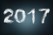 New Year 2017 text made with snow