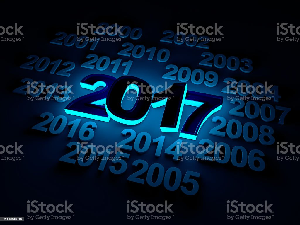 New Year 2017 type old years glowing concept stock photo