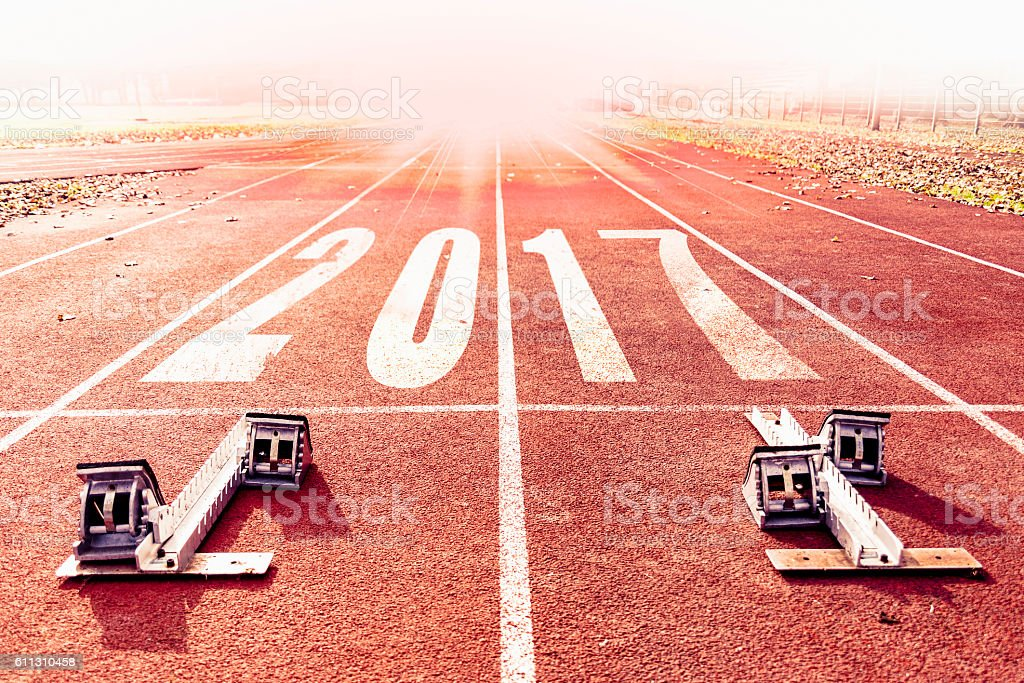 new year 2017 warm look numbers painted stock photo
