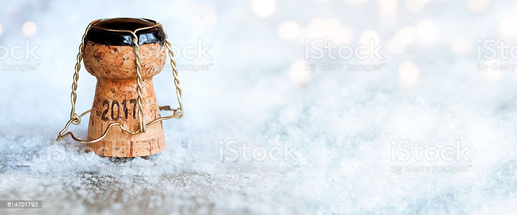 New Year 2017 with a champagne cork stock photo