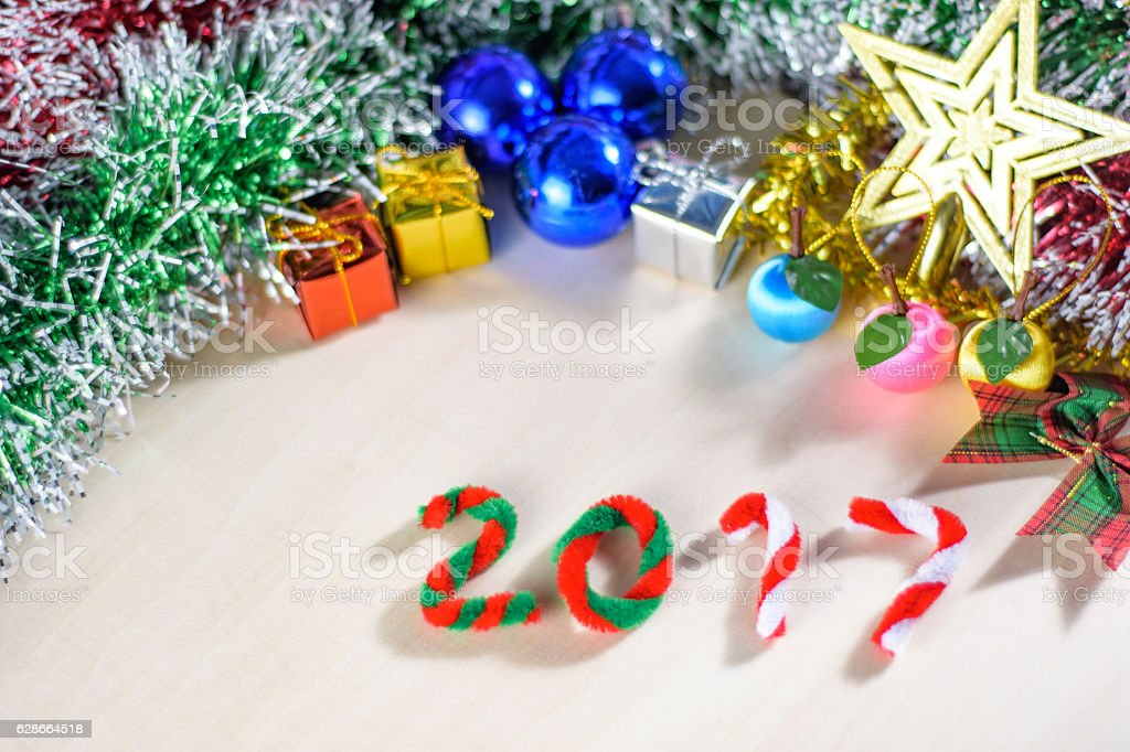 New year 2017 with christmas decorations royalty-free stock photo