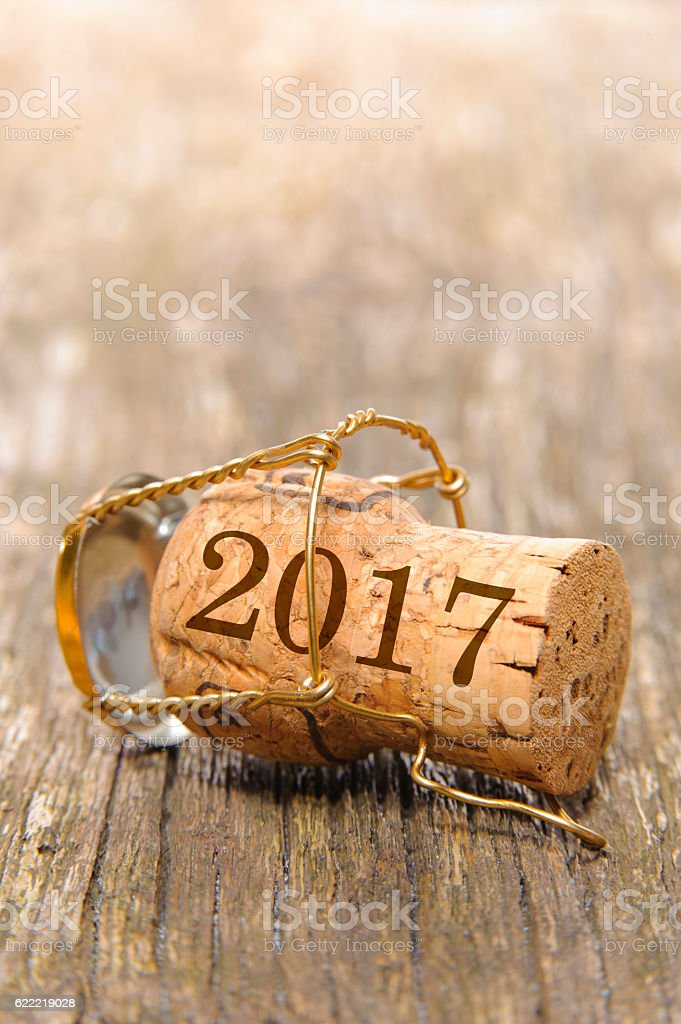 new year 2017 with cork of champagne stock photo