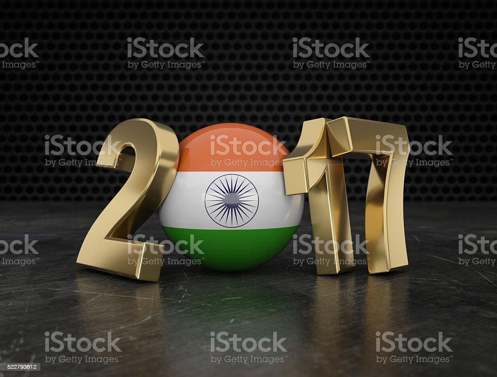 New Year 2017 with Indian Flag stock photo