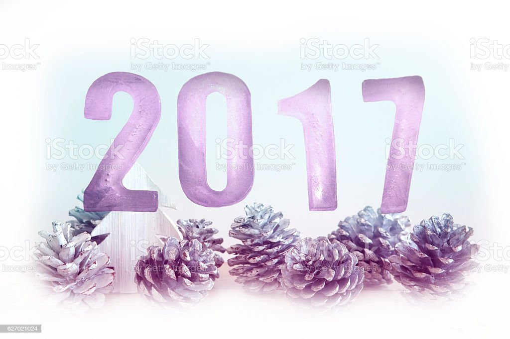 New Year 2017 with pinecones and miniature wooden tree stock photo