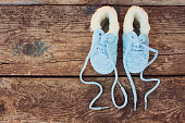 new year 2017 written laces of children's shoes