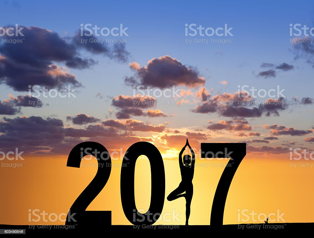 New Year 2017 Yoga concept woman pose stock photo