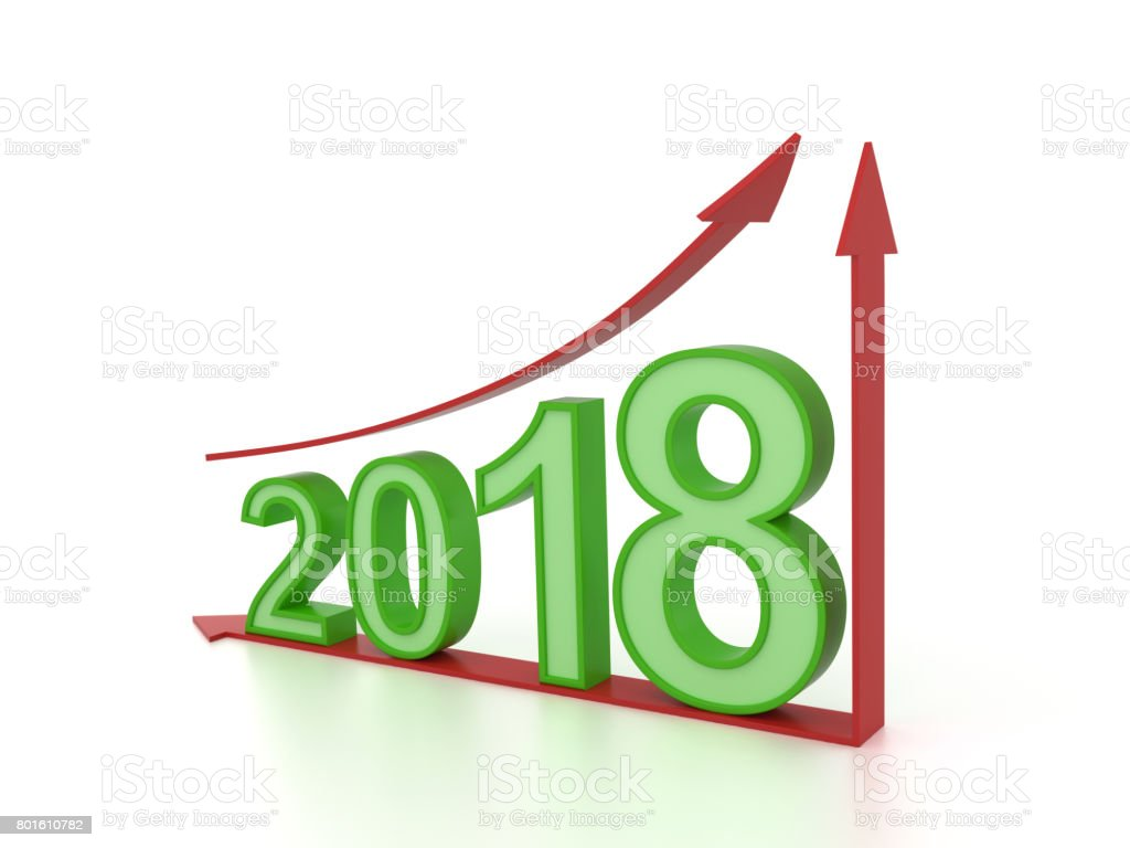 New Year 2018 with Arrow stock photo