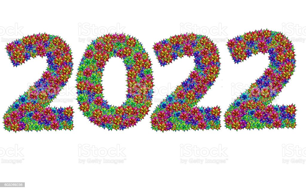 New year 2022 made from bromeliad flowers stock photo
