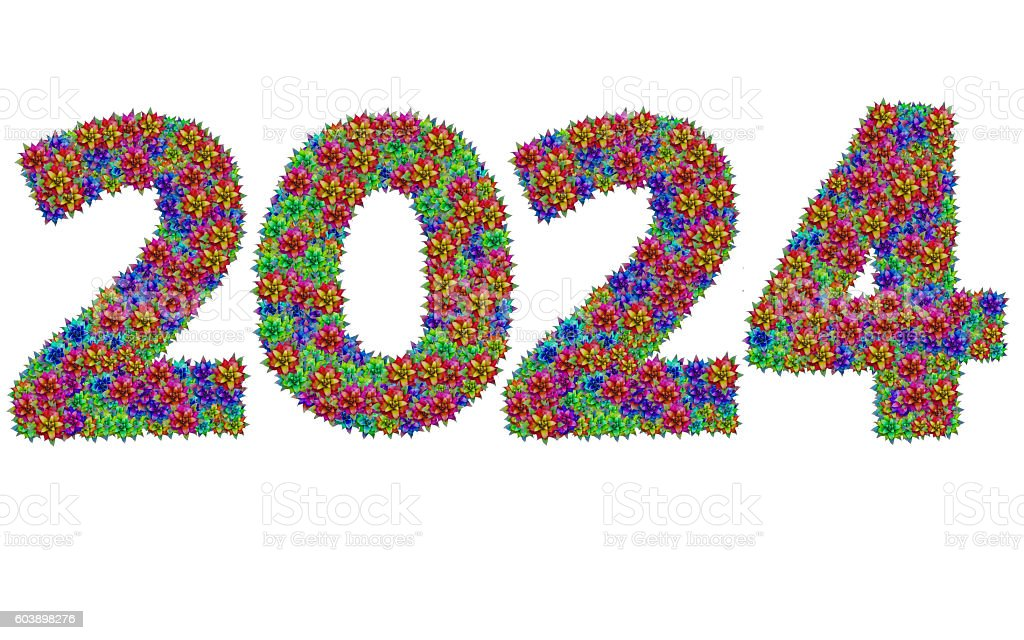 New year 2024 made from bromeliad flowers stock photo