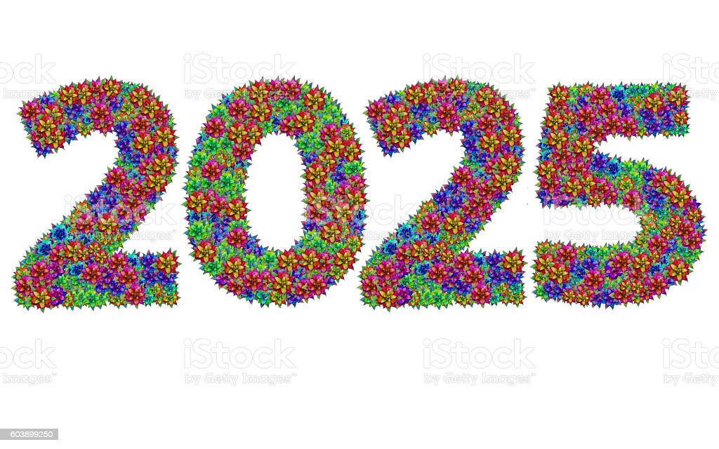 New year 2025 made from bromeliad flowers stock photo