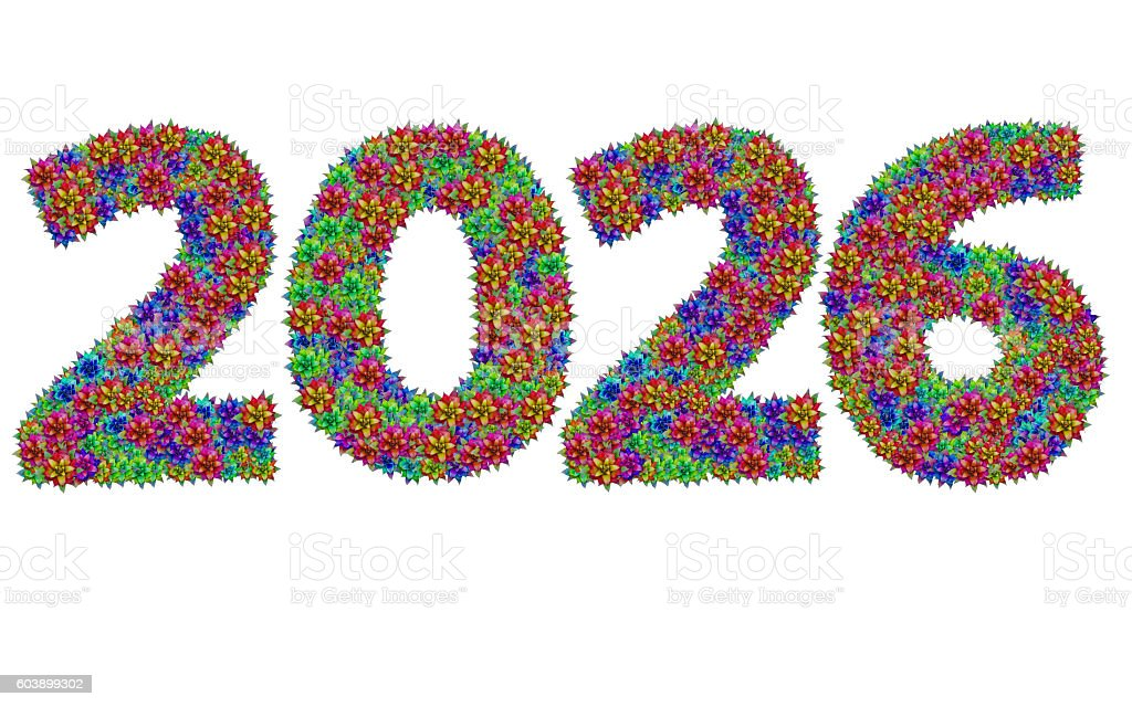 New year 2026 made from bromeliad flowers stock photo