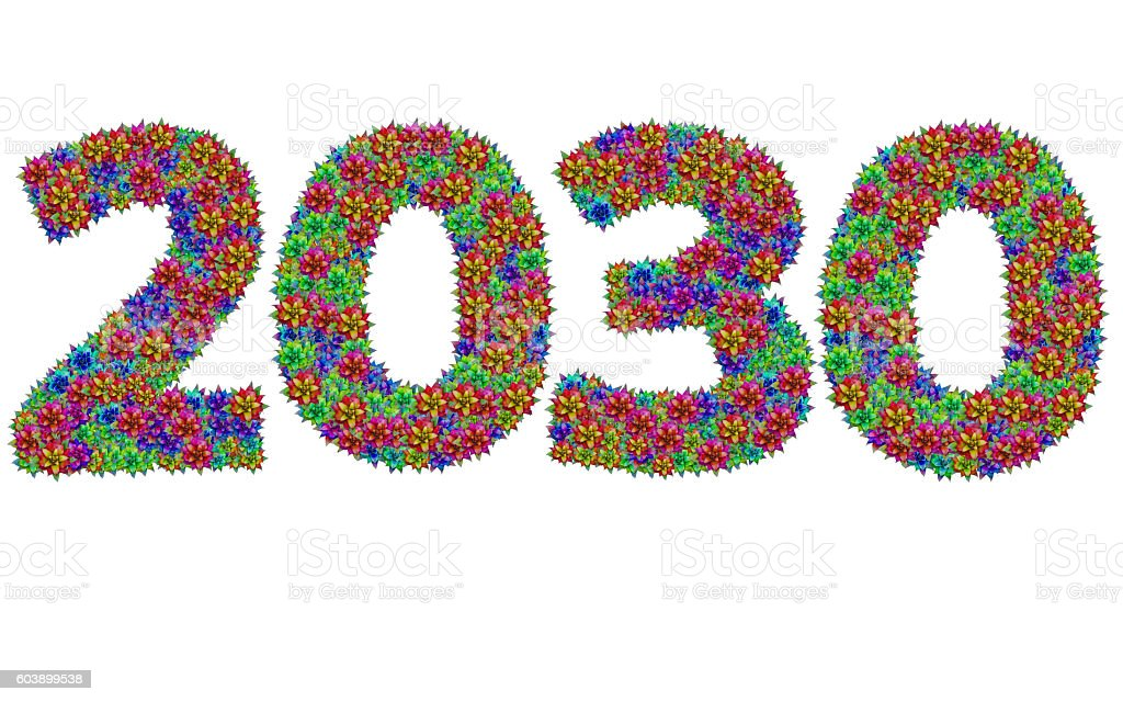 New year 2039 made from bromeliad flowers stock photo