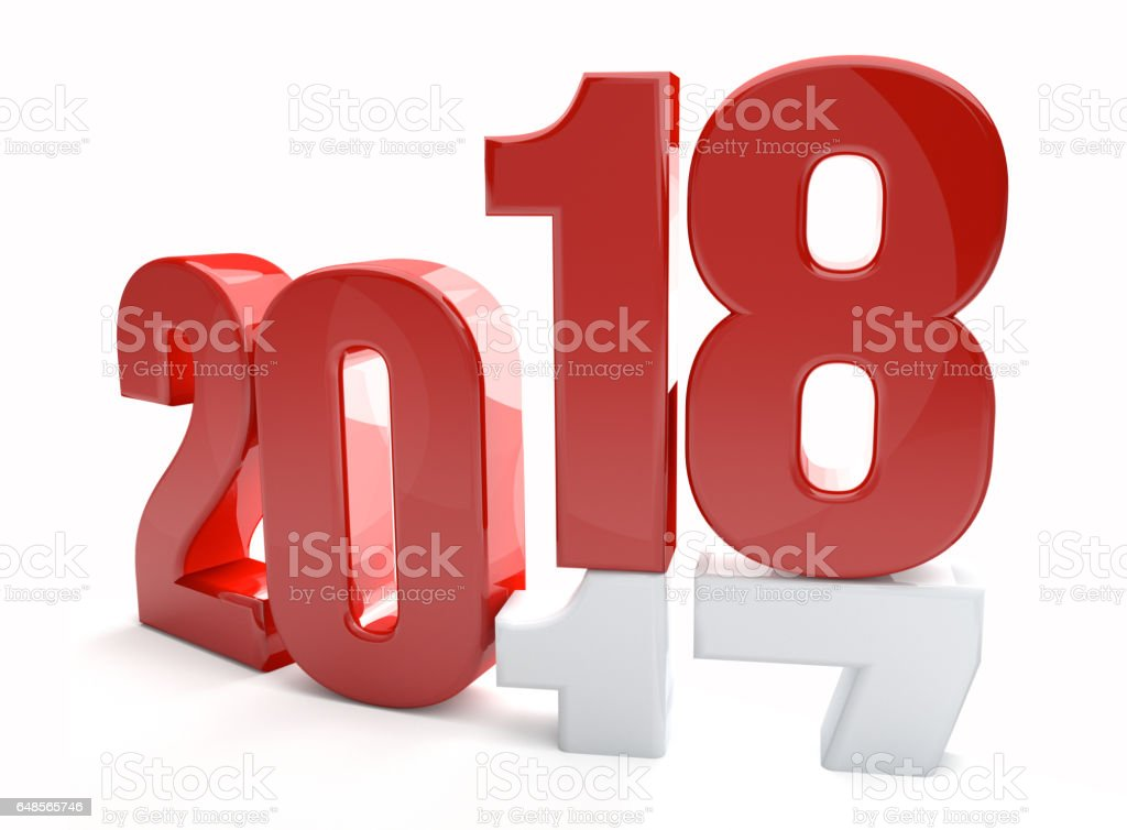 2018 2017 new year 3d render stock photo