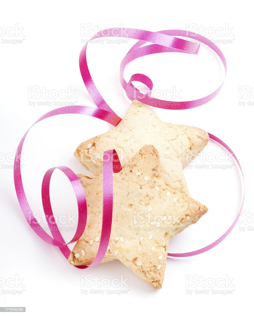 New Year and Christmas Cookies with festive tape royalty-free stock photo