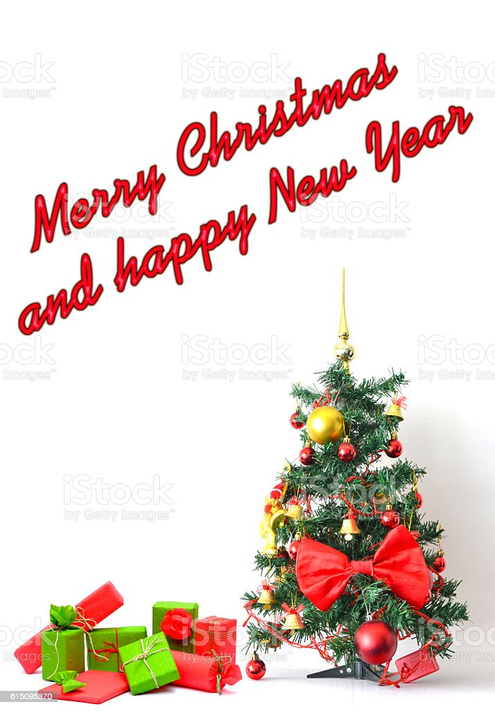 New Year and Christmas greeting card in red tonality stock photo