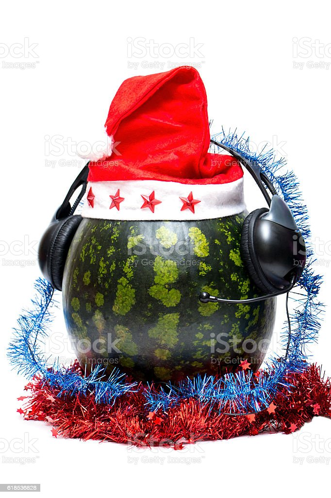 New year and DJ watermelon on white background stock photo