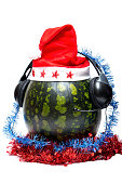 New year and DJ watermelon on white background