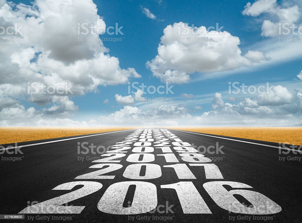 New year and future on road sign stock photo