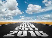 New year and future on road sign