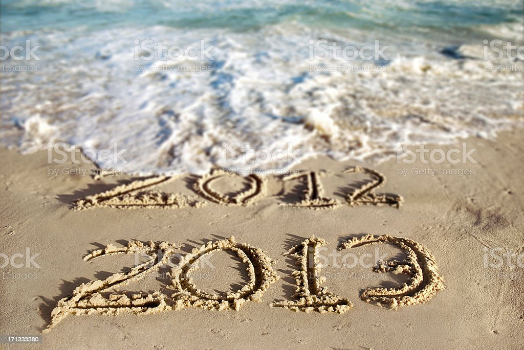New Year at the Beach 2013 royalty-free stock photo