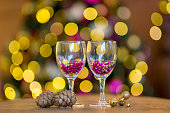 New Year background in purple and gold colors. Bokeh