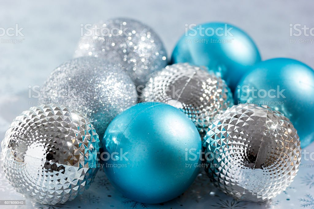New Year background with blue Christmas balls. stock photo