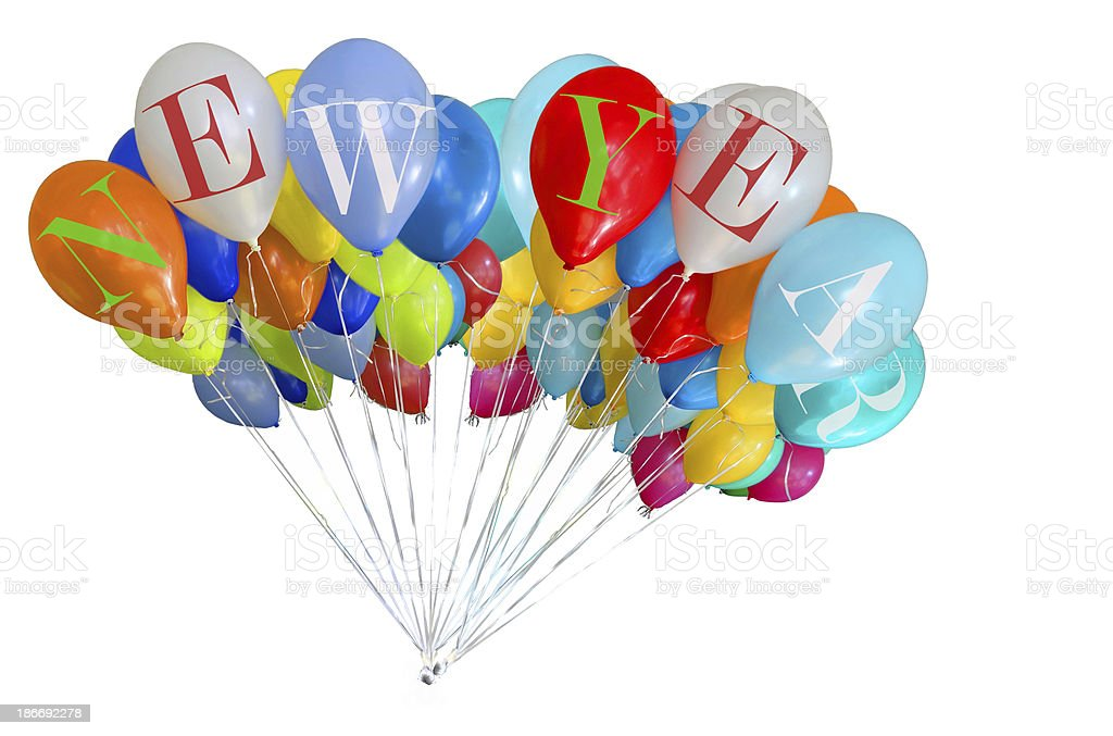 new year ballons isolated stock photo