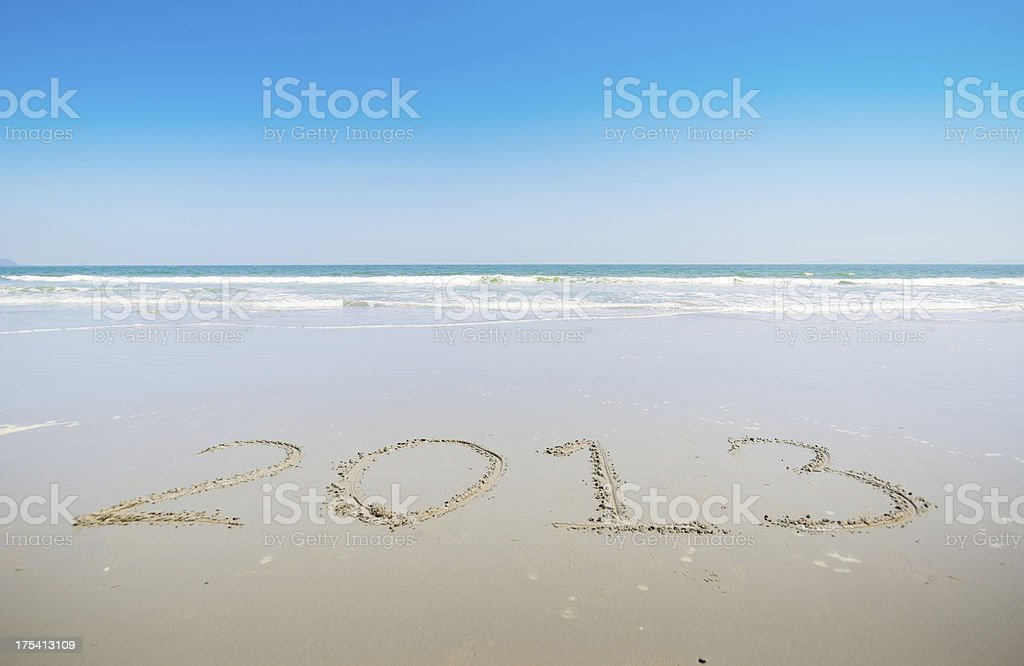 New Year Beach - 2013 royalty-free stock photo