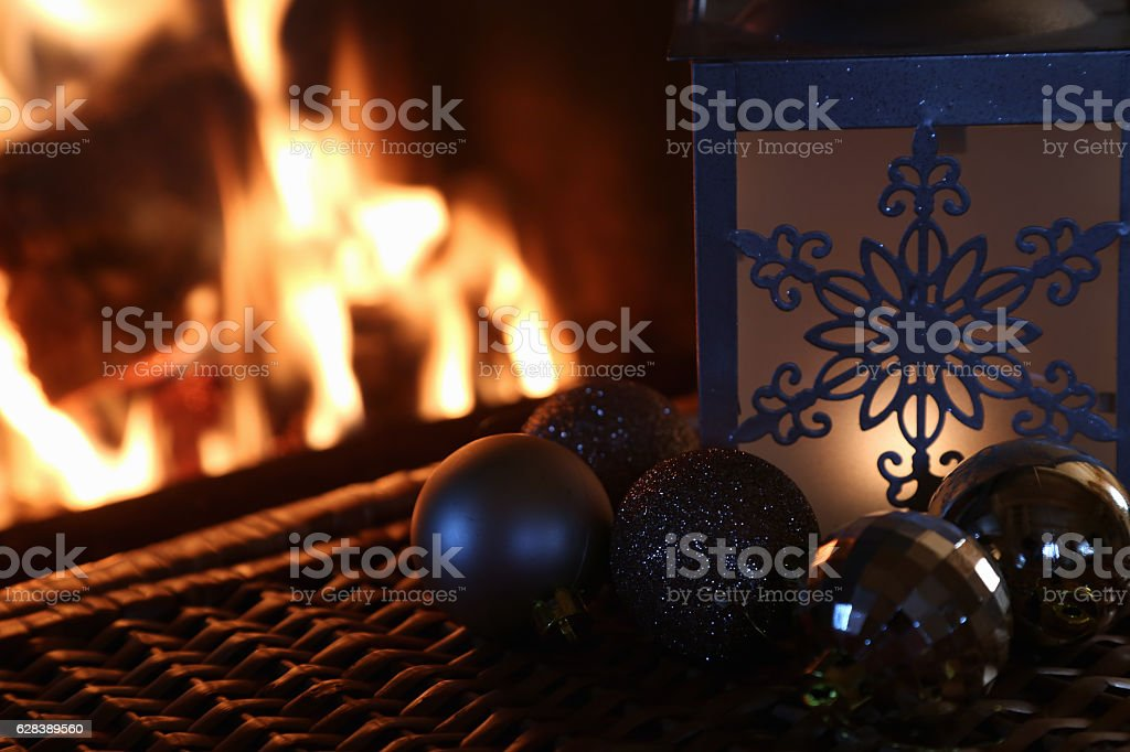 new year by the fireplace stock photo