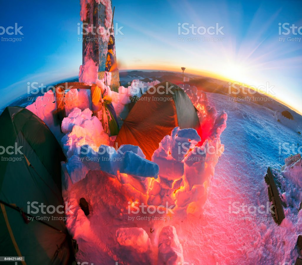 New Year camp climbers Ukraine stock photo