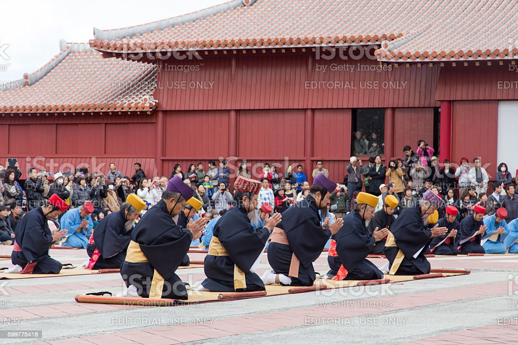 New Year celebration at Shuri castle in Okinawa, Japan stock photo