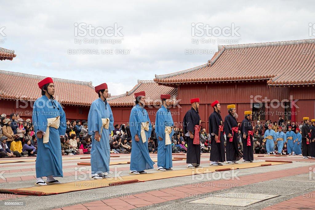 New Year celebration at Shuri castle in Okinawa, Japan stock photo