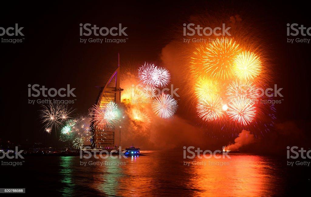 New year celebration Firework at Jumeira Beach Dubai 2015 stock photo