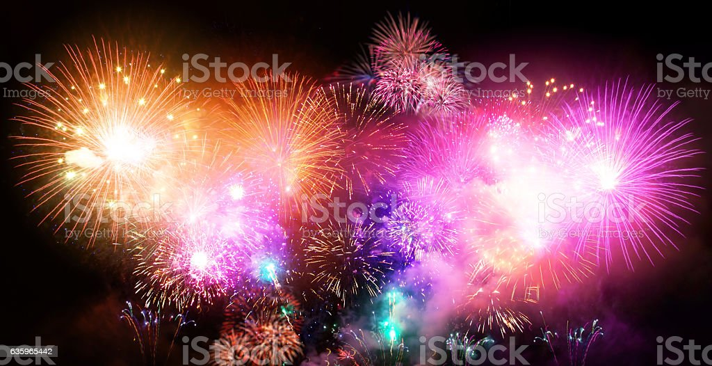 New Year celebration large fireworks event. stock photo