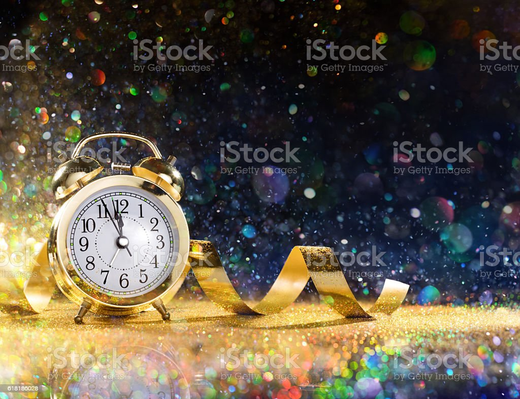 New Year Celebration With Alarm And Confetti stock photo