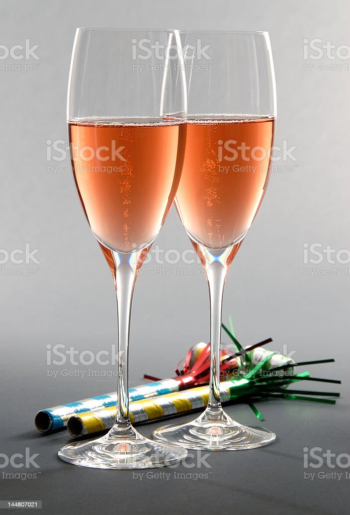 New Year Celebration with Pink Champagne stock photo