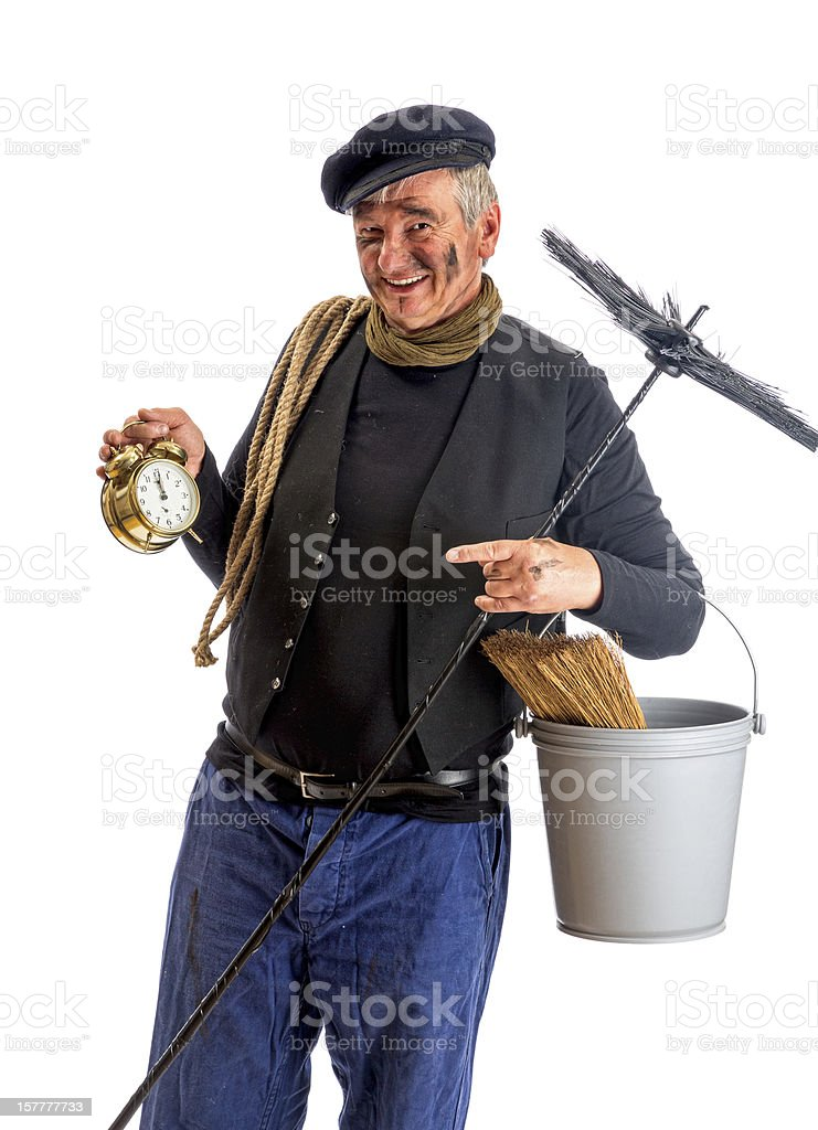 New Year chimney sweep stock photo