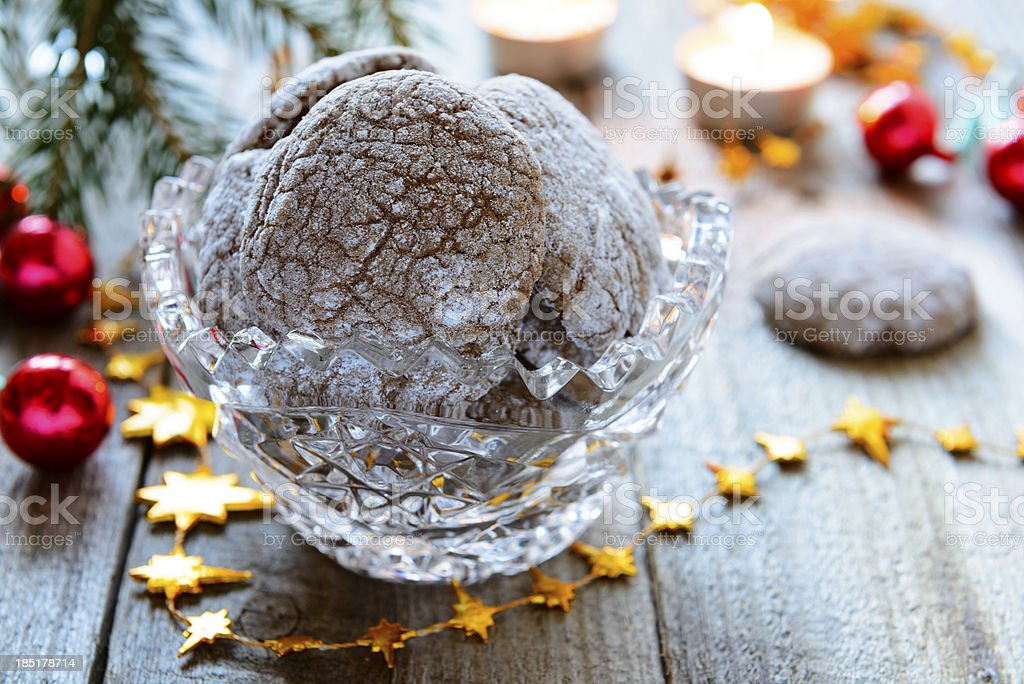 New year chocolate cookies in vase royalty-free stock photo
