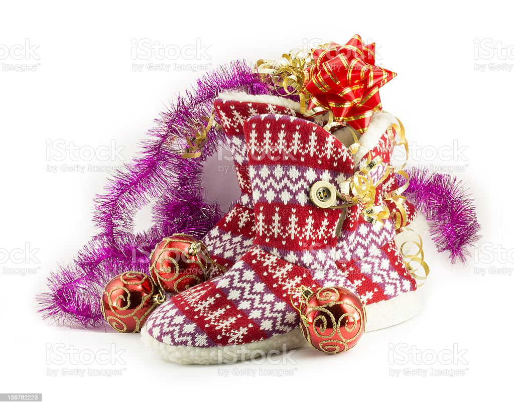 New Year, Christmas balls, decorations and gifts stock photo