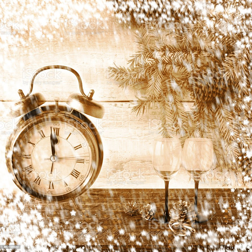 New Year Christmas xmas clock stock photo