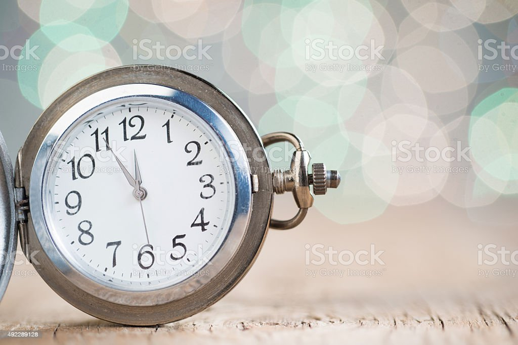New year clock counting down stock photo