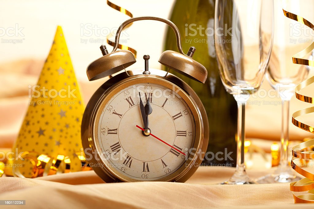 New year - clock face and decorations stock photo