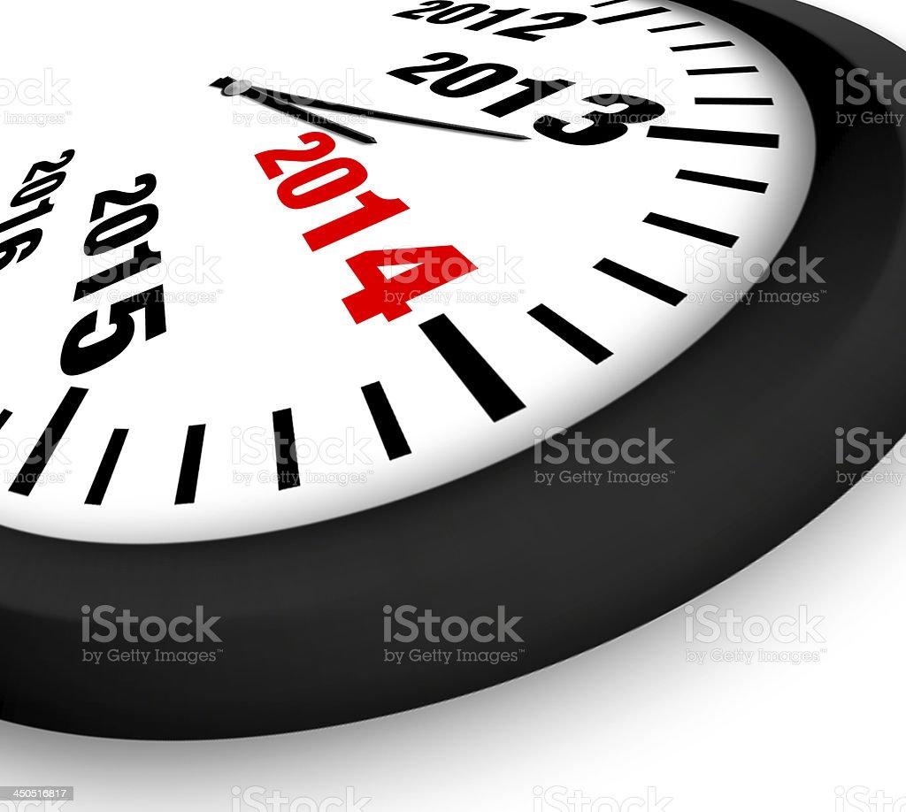 2014 New Year clock royalty-free stock photo