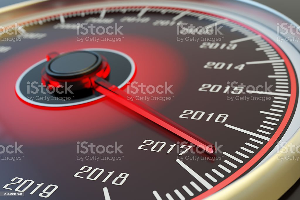 New year coming and passing time concept stock photo