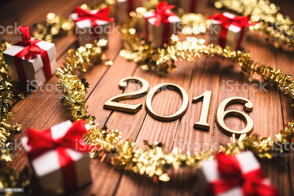 new year composition with christmas decoration stock photo