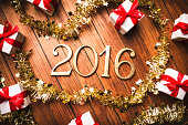 new year composition with christmas decoration