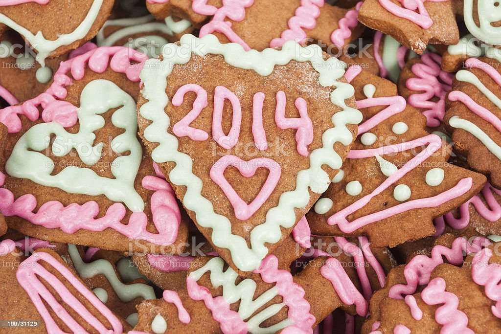 New year cookie with 2014 number royalty-free stock photo