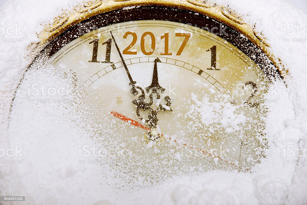 New year countdown on a winter clock stock photo