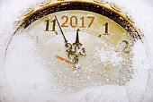 New year countdown on a winter clock