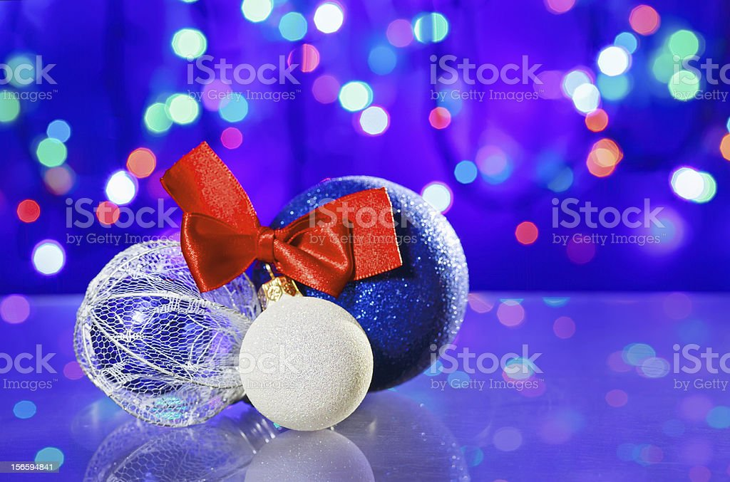 New Year decoration ball toys with red ribbon bow royalty-free stock photo